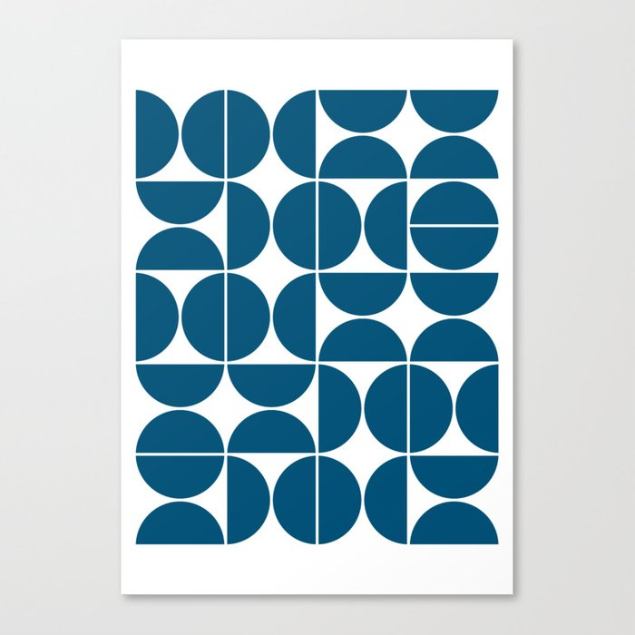 Mid Century Modern Geometric 04 Blue Leinwanddruck