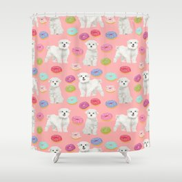 Maltese donuts dog breed funny pet lover dog person pattern print by pet friendly Shower Curtain