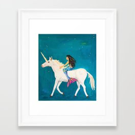 To the Land of Mermaids and Unicorns Framed Art Print