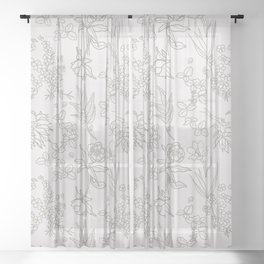 East Coast Forest Vibes Pattern Rose Gold Sheer Curtain