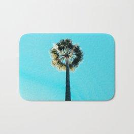 Modern tropical palm tree blue turquoise sky photography Bath Mat