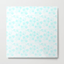 Hand painted watercolor teal polka dots floral pattern Metal Print