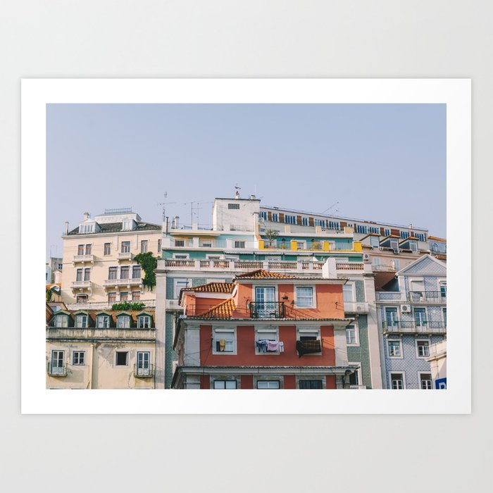 Lisbon City Rooftops, Portugal Art Print