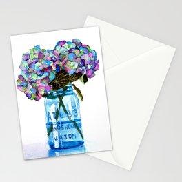 Watercolor Hydrangeas in Blue Mason Jar Stationery Cards