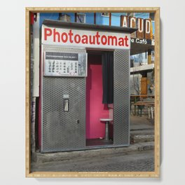 Old photo booth in Berlin, Germany Serving Tray