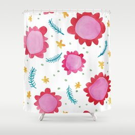 Painted Flowers red Shower Curtain