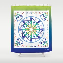 Imagine from the Inside - White/Green Blue Shower Curtain