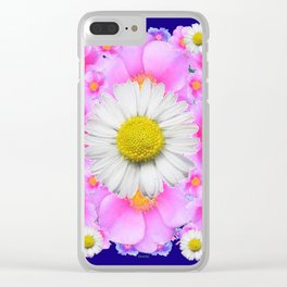 Pink Roses Blue Color Shasta Daisies Pattern Garden Clear iPhone Case