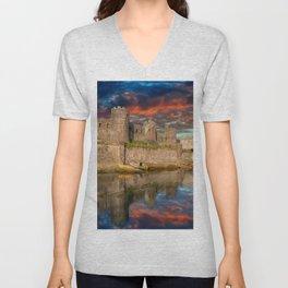 Conwy Castle Sunset Unisex V-Neck