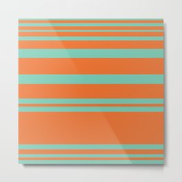 Cyan and Orange Stripes Minimalist Color Block Pattern Metal Print