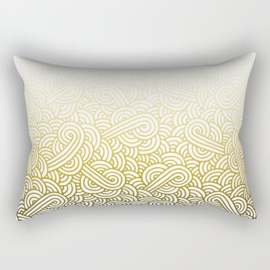 Gradient yellow and white swirls doodles Rectangular Pillow