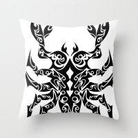 scorpio Throw Pillows featuring Scorpio by Mario Sayavedra