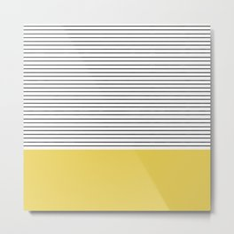 MINIMAL Green Stripes Metal Print