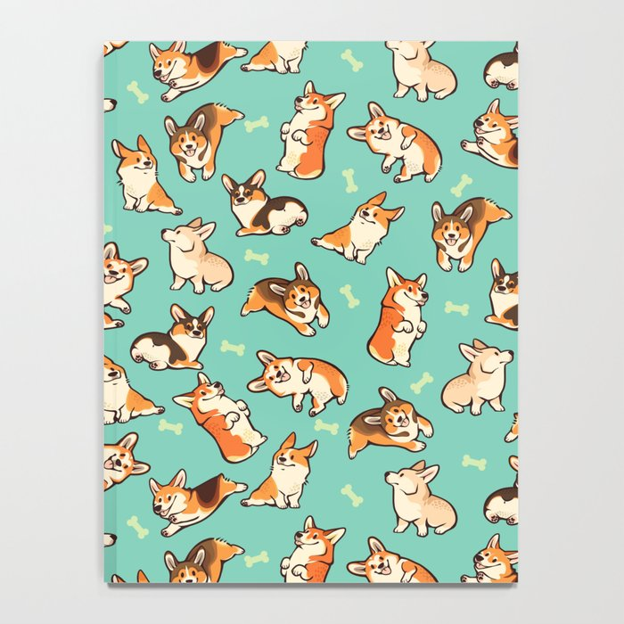 Jolly corgis in green Notebook