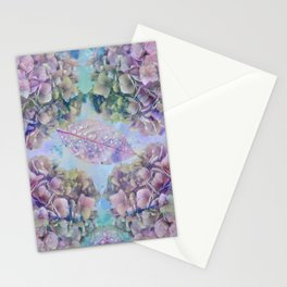 Watercolor hydrangeas and leaves Stationery Cards