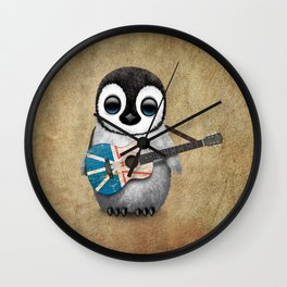 Baby Penguin Playing Newfoundland Flag Acoustic Guitar Wall Clock