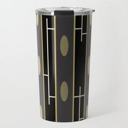 Modern Abstract Black Gold Beams Travel Mug