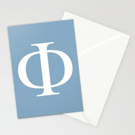 Greek letter Phi sign on placid blue background Stationery Cards