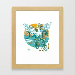 A Swan Riding Bycicle Framed Art Print