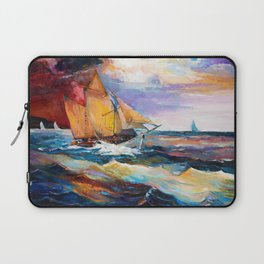 Fishing boats in the sea at sunset Laptop Sleeve