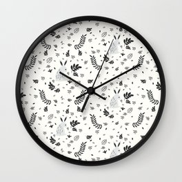 Hand painted cute black white rabbit watercolor floral Wall Clock