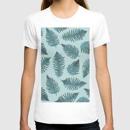 Blue fern garden botanical leaf illustration pattern T-shirt