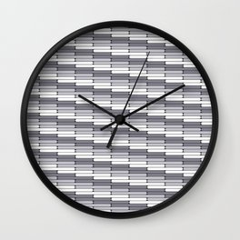 Staggered Oblong Rounded Lines Pattern Pantone Lilac Gray Wall Clock