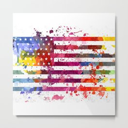 Splash US Flag Metal Print