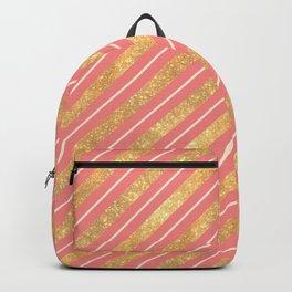 Modern elegant faux gold glitter coral geometric stripes Backpack