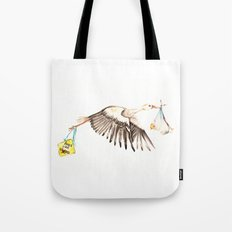 Baby on Bird Tote Bag