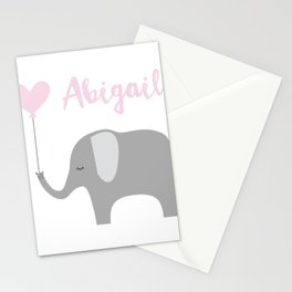 Abigail - Nursery Pink Grey Elephant Heart Stationery Cards