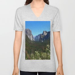 Bridal Veil Falls From Tunnel View Point - Yosemite Valley Unisex V-Neck