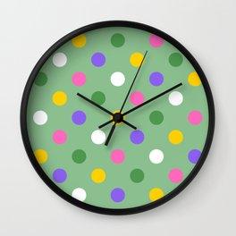 Large colorful spring polka dots Wall Clock