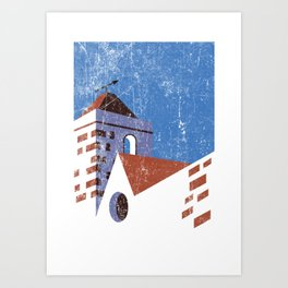 Vintage Travel Poster, Aged and Weathered - Campanile Art Print