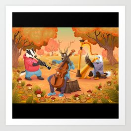 Musician animals in the wood Art Print