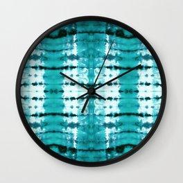 Aqua Satin Shibori Wall Clock