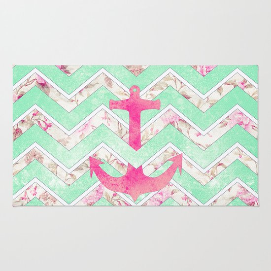 Pink Nautical Anchor Teal Floral Chevron Pattern Rug By