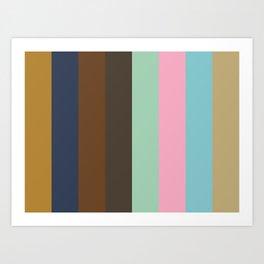 DISTANCE : D(ark Goldenrod) I(ndigo) S(epia) T(aupe) A(quamarine) N(adeshiko Pink) C(yan) E(cru) Art Print