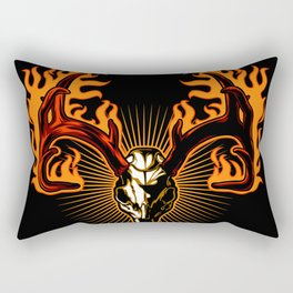 Deer skull on fire Rectangular Pillow