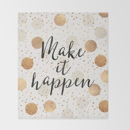 Make It Happen - Gold Dots Throw Blanket