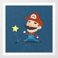 mario Art Prints featuring Mario by Rod Perich