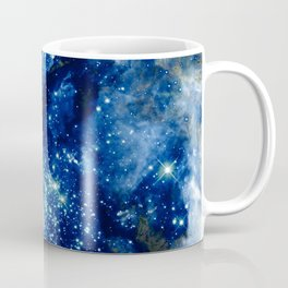 Midnight Blue Green Sparkle Stars Coffee Mug
