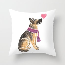 Watercolour German Shepherd Dog Throw Pillow