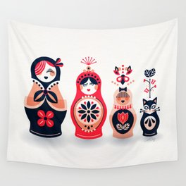 Russian Nesting Dolls – Hot Pink Wall Tapestry