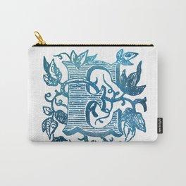 Letter E Antique Floral Letterpress Monogram Carry-All Pouch