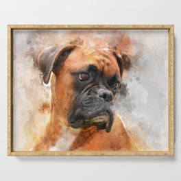 Boxer Dog Thinking Serving Tray