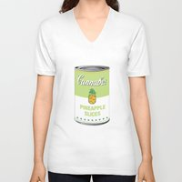cannabis V-neck T-shirts featuring Cannabis - Pineapple Slices by Project Planet
