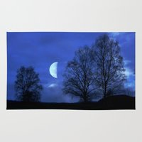 kindle Area & Throw Rugs featuring Moon between Trees  - JUSTART © by JUSTART