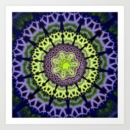 Groovy crackles patterns mandala Art Print