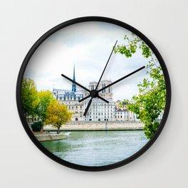 Seine River in Paris on Autumn Day Wall Clock